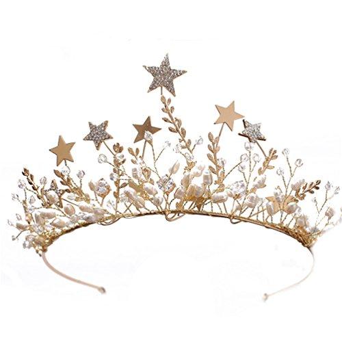 Aries Tuttle Gorgeous Gold Pearls Stars Style Princess Wedding Bridal Crown Tiara Bride Headpiece Headdress