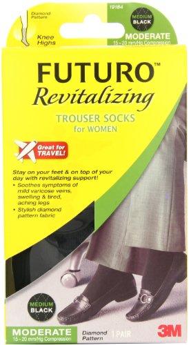 f29892cde8d2 Futuro Revitalizing Trouser Socks for Women, Knee High, Medium, Black, Moderate  Compression