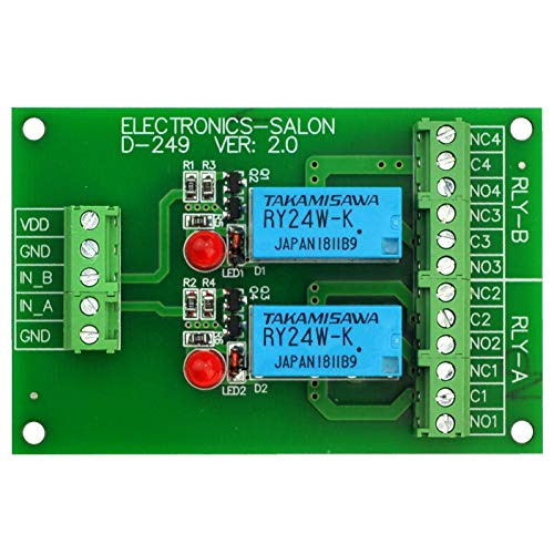 ELECTRONICS-SALON Two DPDT Signal Relay Module Board, DC24V Version, for PIC Arduino 8051 AVR.