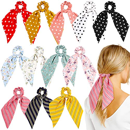 WATINC 12 Pcs Bowknot Hair Scrunchies Chiffon Floral Scrunchie Scarf Hair Ties 2 in 1 Vintage Ponytail Holder with Bows Flower Stripe Hair Scrunchy Accessories Ropes for Women