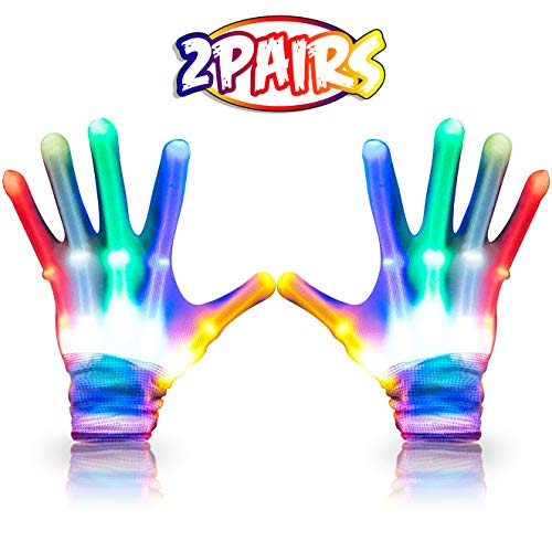 BOLLEPO Led Gloves with Flashing Modes, Light Up Rainbow Multicolored Gloves for Raves, Party, Music Festivals, Clubs, Party and Halloween (2-Pack) for Adults and Kids]()