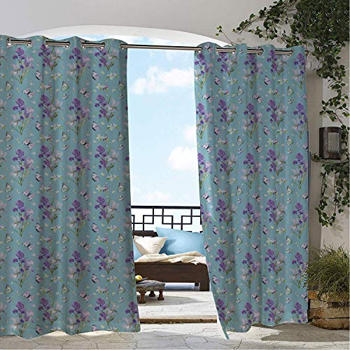 Linhomedecor Patio Waterproof Curtain Purple Butterfly Blooming Watercolor Violet Iris Flowers and Detailed Drawn Butterflies Multicolor pergola Grommets Parties Curtains 120 by 108 inch