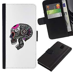 A-type (Modelo del cráneo Muerte Gris Rosa Blanco) Colorida Impresión Funda Cuero Monedero Caja Bolsa Cubierta Caja Piel Card Slots Para Samsung Galaxy Note 3 III