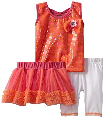 Little Lass Baby Girls' 3 Piece Skirt Set with White Leggings, Orange, 12 Months