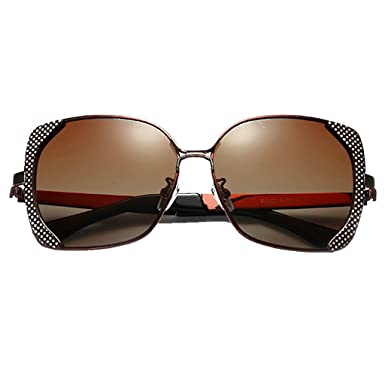 cbce368702 LUOMON Polarized Butterfly Sunglasses for Women Metal Brown Frame Brown  Lens Polarized Fashion Glasses LM016