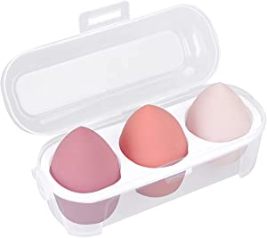 Makeup Sponge Case Blender Beauty Foundation Holder Blending Sponge Egg Set Makeup Sponge Wet And Dry Storage Box Egg Sponge Organizer (3pcs-Pink series)