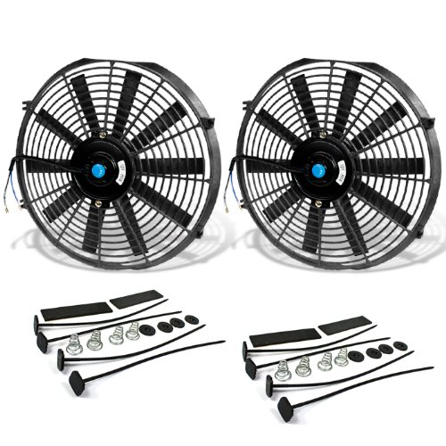 14 Inch High Performance Black Electric Radiator Cooling Fan Assembly Kit (Pack of 2) - Performance Radiator Fan Motor