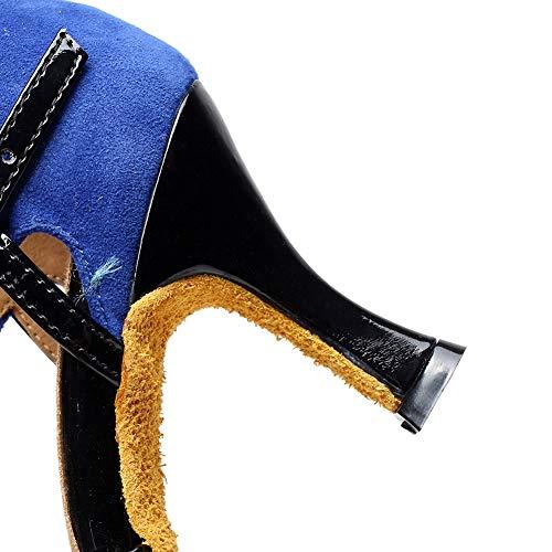 Ballo Di Metallo Scarpe Da 5cm Tacco Tango Alto Blue7 Fibbia Pelle Bocca Scamosciata Donna Xiaoy Pesce 8IqTBR