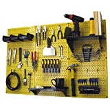 Wall Control 30-WRK-400 YB Pegboard Organizer 4-Feet Metal Standard Tool Storage Kit with Yellow Tool Board and Black Accessories