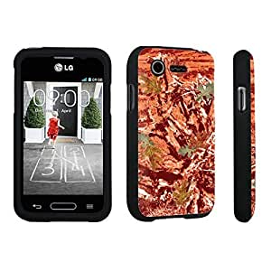 DuroCase ? LG L34C Optimus Fuel / LG Optimus Zone 2 VS415PP Hard Case Black - (Hunter Camo Orange)