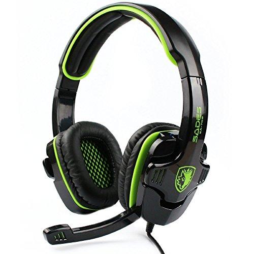 SADES SA708 verdrahtet 3,5 mm Audio Stecker Gaming Headset Kopfhörer Gaming mit Mikrofon (grün)