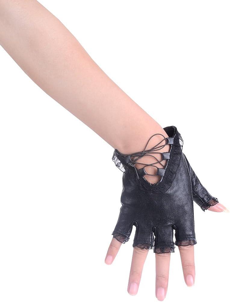 JISEN Guantes de piel sint/ética para mujer con remaches punk con cintur/ón y medio dedo