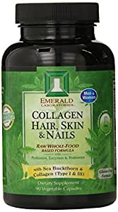 Emerald Laboratories Collagen, Hair, Skin and Nails Vegetable Capsules, 90 Count