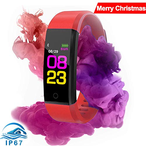 Fitness Tracker Watch HR,Activity Tracker Watch with Heart Rate Monitor,IP68 Waterproof Color Screen Smart Bracelet with Step Counter, Calorie Counter, Pedometer Watch for Women Men Kids