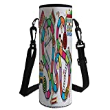 Water Bottle Sleeve Neoprene Bottle Cover,Board Game,Game on Notebook Paper Kids and Building School Route Fun Challenge Enjoyment Decorative,Multicolor,Fit for Most of Water Bottles