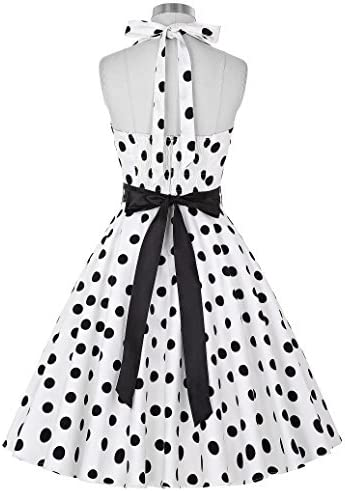 GRACE KARIN Donne 1950 Vintage con allacciatura al collo di Polka Dots Dress Cotone 3XL YF4599-3
