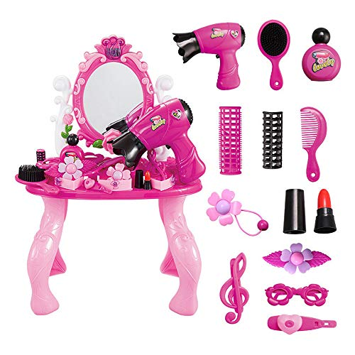 Alapaste Kids Make Up Kit Girls Pretend Play Toys Vanity Table Set Dresser Playset Fashion Beauty Salon Cosmetic Set Accessories Hairdryer Mirror Girls -