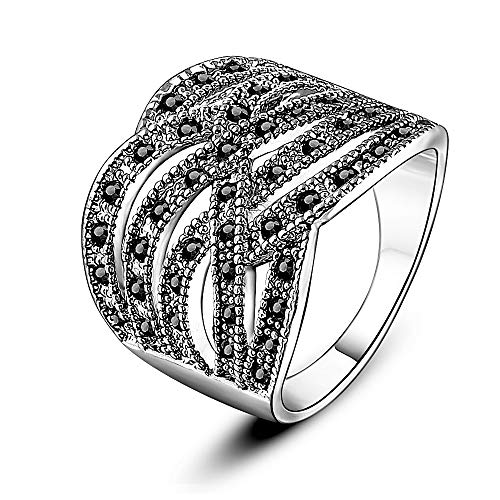Mytys Vintage Silver Cross Criss Wide Band Rings Black Marcasite Crystal Paved Intertwined Twist Knot Ring for Women
