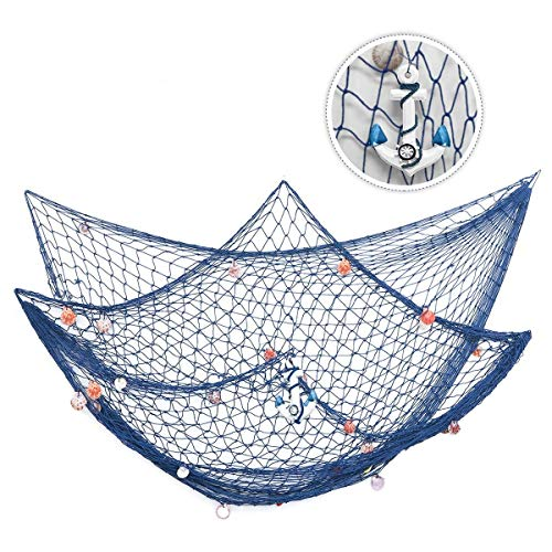king do way 79inch x 59inch Mediterranean Style Fishing Nets with Sea Shells and Anchor Decorative Background Wall Bar for Home Decoration (Blue)