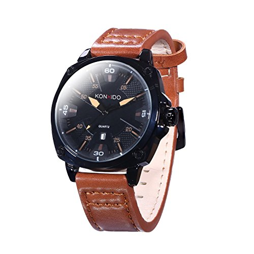 KOSSFER Men's Quartz Watch Roman Numeral Business Casual Fashion Analog Wrist watch Classic Calendar Date Window Men's Stainless Steel Watch With Light genuine Leather Band Black Brown