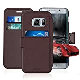 Samsung Galaxy S 6 Edge/S6 Edge Leather Wallet Case with Cards Slot and Metal Magnetic, Slim Fit and Heavy Duty, TAKEN Plastic Flip Case / Cover with Rubber Edge, for Women, Men, Boys, Girls (Coffee)