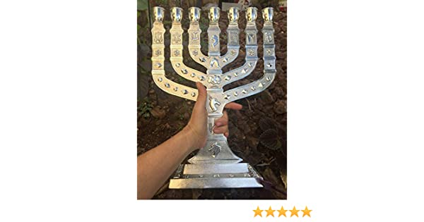 Yaliland Large Authentic Menorah in Silver Plated with 12 Signs from Jerusalem 14 Inch Heigh