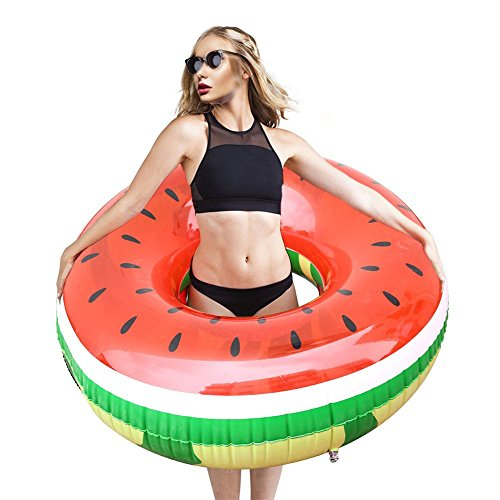 Sakiyr 46 Inch Giant Watermelon Pool Float Summer Outdoor Inflatable Swimming Pool Party Decoration Toys for Adults & Kids With Rapid Valves