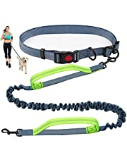 Hands Free Dog Leash for Running Walking Training Hiking, Dual-Handle Reflective Bungee, Adjustable Waist Belt , Ideal for Medium to Large Dogs (Black+Green)