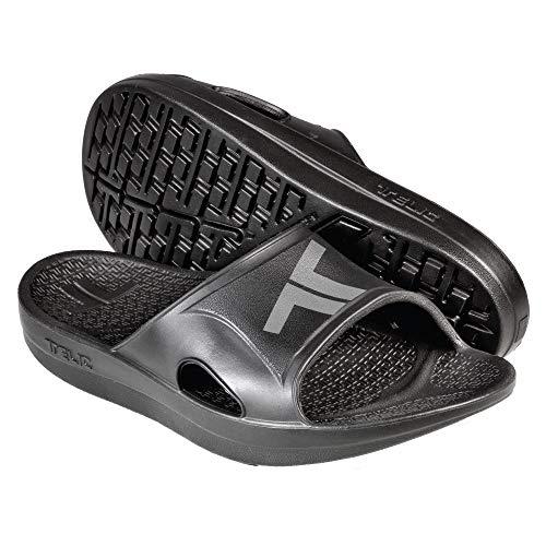 Telic Unisex Recharge Slide - Comfort Sandals for Men and Women, Midnight Black/Gray, ML