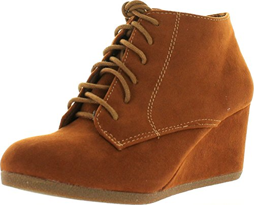 Bella Marie Brenda-11 Women's High Top Lace Up Rounded Toe Platform Wedge Suede Booties,Tan,7