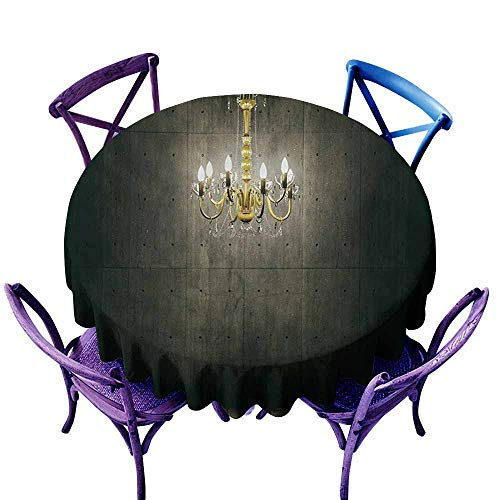 Resistant Table Cover,Grunge Classic Chandelier in a Dark Gothic Wooden Room Vintage Style Room Picture,for Banquet Decoration Dining Table Cover,43 INCH,Grey and Yellow ()