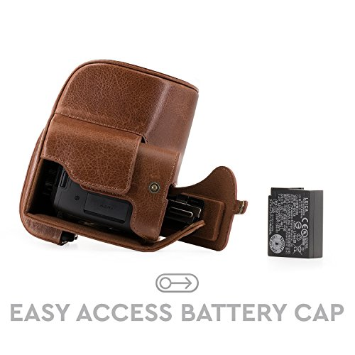"""MegaGear """"Ever Ready"""" Genuine Leather Camera Case - Easy to Install, Tripod and Peripheral Friendly Accessory - Compatible with Leica V-Lux (Typ 114) (Dark Brown)"""