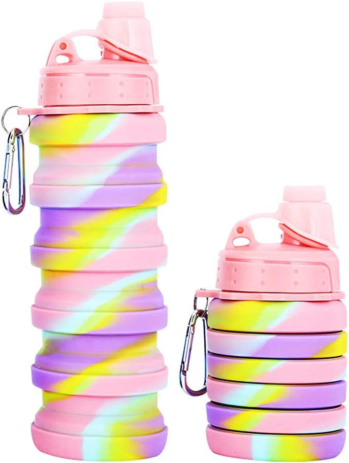Sports Bottle, MUMAX 17oz BPA Free Silicone Sports Water Bottle Foldable Retractable Kettle for Travel Outdoor Sports Camping Hiking Fitness Yogo Gym Drinking (Camouflage Pink)