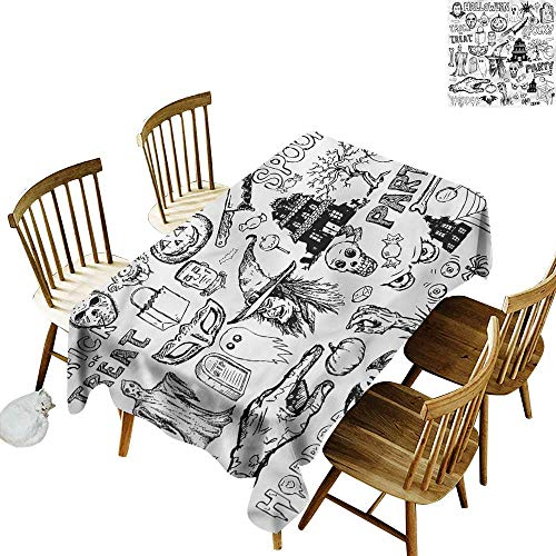 Tim1Beve Fashions Rectangular Table Cloth Vintage Halloween Treat Party High-end Durable Creative Home 60