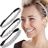 Hipsy Women's Adjustable NO SLIP Bling Glitter Headband Mixed 3pk (Silver)