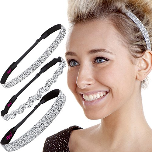 Hipsy Womens Adjustable NO SLIP Bling Glitter Headband Mixed 3pk (Silver)