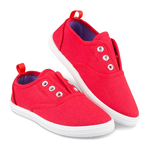 Chillipop Fashion Sneakers for Girls & Toddlers - Laceless, Slip On, Classic Shoe, Red (V2),1 M Little Kid]()