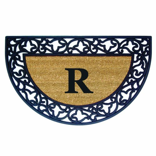 Half Round Iron - Nedia Home Acanthus Border with Half Round Rubber/Coir Doormat, 22 by 36-Inch, Monogrammed R