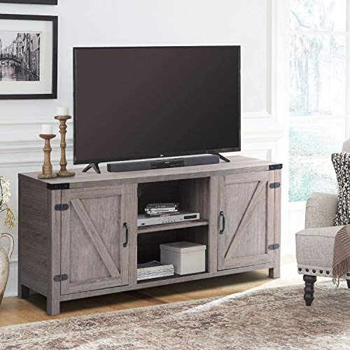 USINFLY Modern TV Entertainment Center,Farmhouse TV Stand with Storage Adjustable Shelves Sliding Barn Door TV Console up to 65″ (Natural)