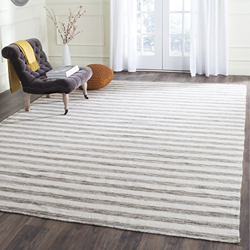 Safavieh Dhurries Collection DHU575E Flatweave Brown and Ivory Premium Wool & Cotton Area Rug (5' x 8') (Dhurrie Rugs Cotton Area)