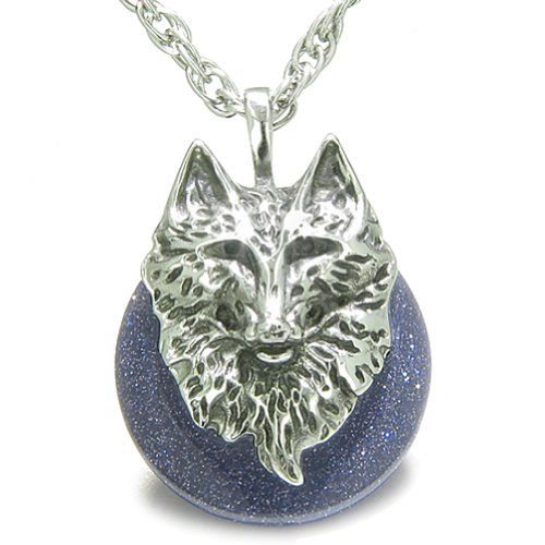 Amulet Wolf Head Courage Protection Powers Lucky Donut Blue Goldstone Pendant 22 Inch Necklace