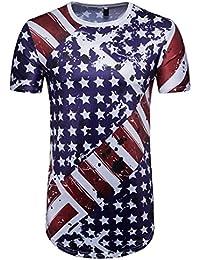 Men's Casual American Flag Print O Neck Short Sleeve T-Shirt Top Blouse Summer