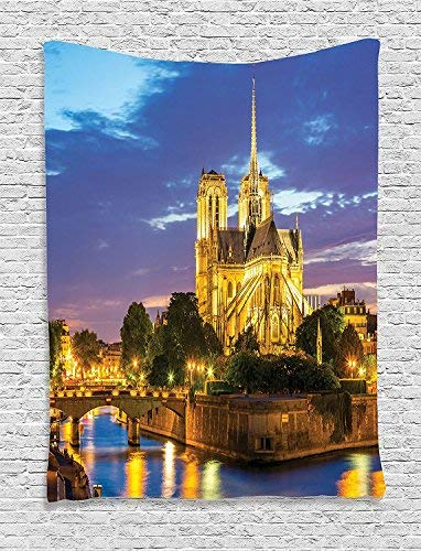 Paris Tapestry Wall Hanging, Notre Dame Cathedral at Dusk in Paris France Riverside Scenery Lights Reflection Image Wall Art Tapestries for Home Bedroom Living Room Dorm Decor, Blue -