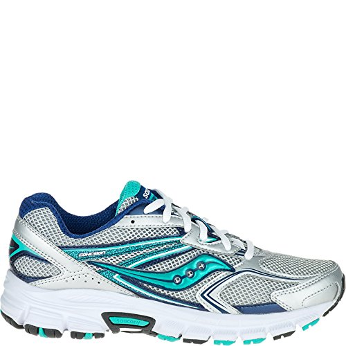 Saucony Women's Cohesion 9 Running Shoe, Silver/Navy/Teal, 8.5 M US