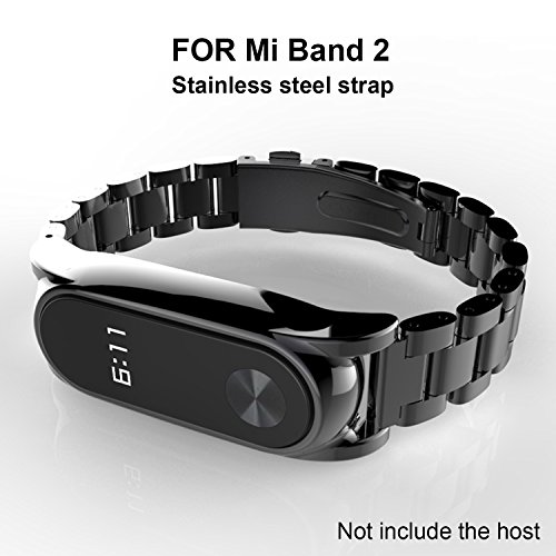 GUYO miband 2 strap Replacement Metal Strap Wristband Accessories for Xiaomi Mi Band 2 Stainless Steet Replacement Smart WatchBand with Magnetic Suction Shell(Original Fashion Design) Black Plus