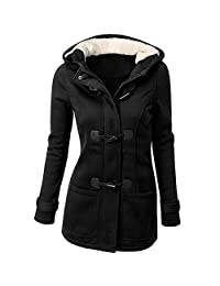 Womens Winter Coats KIKOY Fashion Windbreaker Outwear Warm Wool Slim Long Jacket Trench