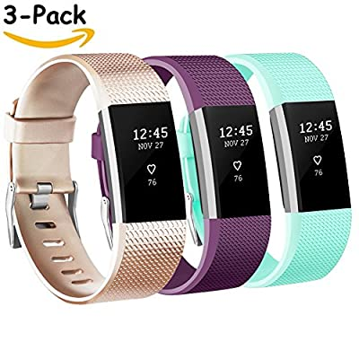 Vancle Fitbit Charge 2 Bands, Replacement Bands for Fitbit Charge 2 HR Sport Wristbands Small Large (# Champagne & Purple & Teal, Large)