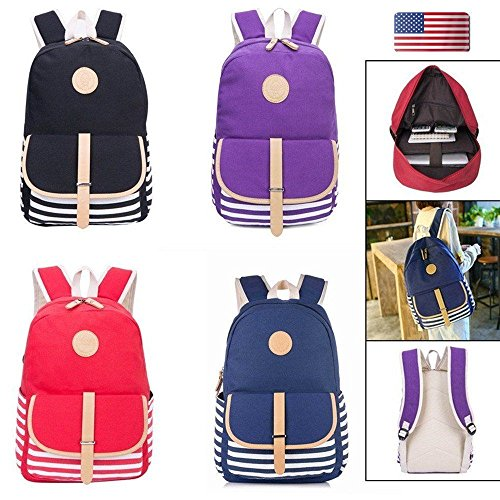 Womens Girls Canvas Rucksack Colorful Travel Laptop Backpack School Bag Suitable for Girls Womens – Perfect Gift (RED) (Red Sea Mini Lab)