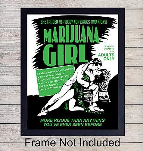 Marijuana Girl Vintage Unframed cannabis Wall Art Print