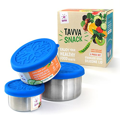 Stainless Steel Food Storage Containers with Lids - Plastic Free | Leakproof Lunch Containers | Silicone Lids | Reusable | Stackable - for Snacks, Lunch Dips, Finger Food on the Go [Set of 3]